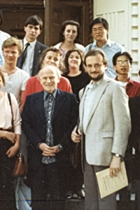 USC, 1987. Yehudi Menuhin giving class to E.S. students as part of the exchange (ES teaches at YM School in London)